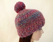 Super Chunky Hand Knit Hat Merino Wool Beanie Rain Ribbed Skull Cap Striped Colorful Shinning Women Teens Pom Pom