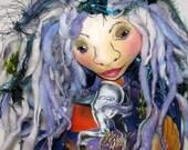 Fantasy Mermaid Wall Cloth Art Doll, Pegasus and Unicorn Hanging Fairy Faery, Fae Wall Decor  OOAK