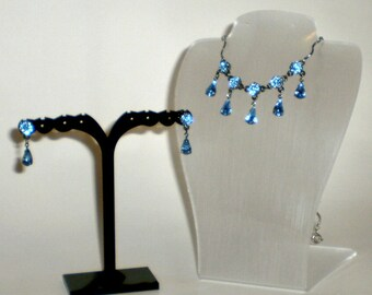Blue Rhinestone Jewelry Set