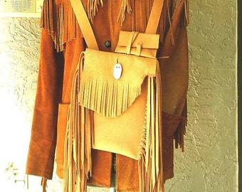 SALE Fringed Deertan Cross Shoulder-Messenger-Possible Bag-Medicine Bag-3 pc. set
