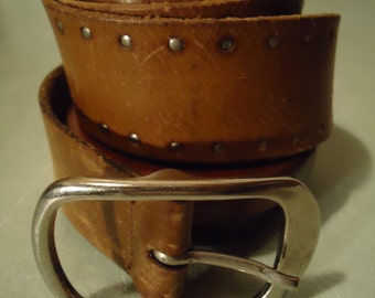 Vintage 1993 Boho Distressed Brown Leather Ladies Womens Belt with Small Silver Studs