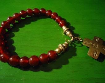 Boho Gpysy Inspired Visionary Cross Pendant and Raspberry Beaded  Bracelet
