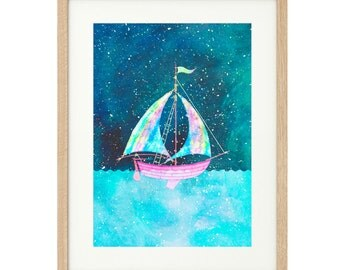 Rainbow Sailboat - Limited Edition Print