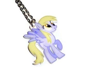 Derpy Hooves Necklace, Cute Pony, Laser Cut Pendant