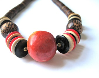 Wood Beaded Orb Necklace Statement 1970s Hippie Multi Jewelry Boho Festival Red Black Brown Natural
