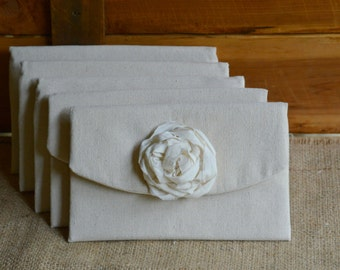 5 Bridesmaid Clutches Rustic Wedding Bridesmaid Bag Wedding Purses Bridesmaid Gift Bridal Purse Ivory Simple Chic