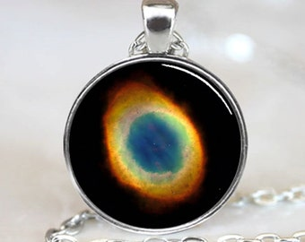 Ring Nebula Pendant, Ring Nebula Necklace, Ring Nebula Jewelry, Galaxy Jewelry, Galaxy Pendant, Galaxy Necklace, Universe Pendant (PD0610)