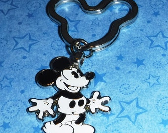 Mickey Mouse Black and White Key Chain, Re-purposed from Disney Trading Pin, 2.5 Inches Long