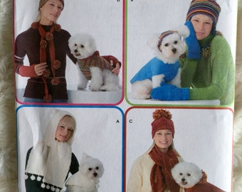 Simplicity Womens and Dog Matching Accessories Hat Dog Coat Neck Warmer Mittens Sewing Pattern 3975 UC FF Uncut