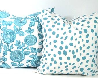 BLUE PILLOW SET.18x18 Inch Pillow Covers.Cm.Cushion.Blue Decor.Blue.Bright Blue Pillows.Pillow Set.Blue Cushions.House Decor.Dots.Floral.cm