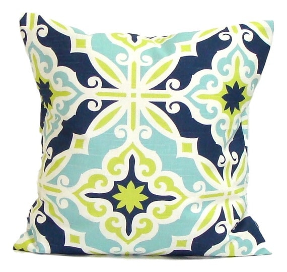 BLUE GREEN Euro PILLOW. 26x26 27x27 or 24x24 inch Decorative