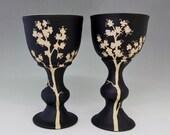 Cherry Blossom Goblets: Black and White Carved Ceramic Goblet Set, Floral Design,Asian-inspired Functional Art Pottery