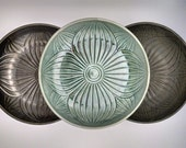 "Metallic ""Hosta Leaf"" Ceramic Serving Bowls in Pewter, Gunmetal, or Metallic Green, Heirloom-Quality Functional Art Pottery"