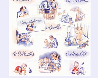 Baby Book Clip Art Baby's First Year Scrapbooking 1940s Artwork Digital Download DIY Retro Style Baby Book