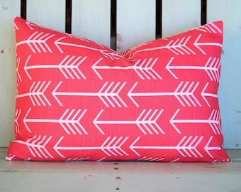 "New 14"" X 20"" coral arrow print designer fabric- decorative pillow cover-throw pillow-accent pillow"
