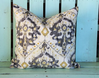 New 18x18 yellow,gray,ivory Ikat pillow cover-accent pillow- decorative pillow cover-gifts under 40-throw pillow