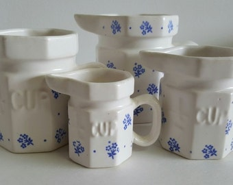 70's Ceramic Measuruing Cups with Matching Salt & Pepper Shakers