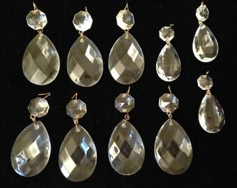 Lot 10 Glass / Crystal Diamond Pattern Lamp PRISMS vtg Lighting Part