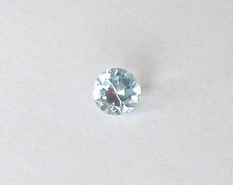 Natural Blue Aquamarine, Unheated, Round Cut, 1.49 carat