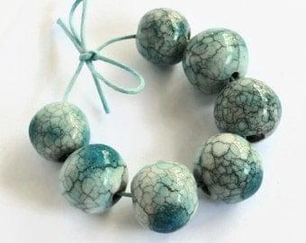 Turquoise beads, handmade ceramic beads,  African Beads, 7 handmade beads, clay beads, raku beads, boho beads, crackle beads, perlen