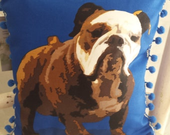 Blue Bulldog cushion  with  pompom trim