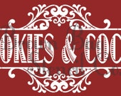 Christmas Stencil - COOKIES & COCOA -  20x10 -  Christmas Stencil