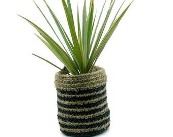SALE Jute Crochet Doorknob Basket, Plant pot Hanging Holder, Desk Organizer Bin, Jute Crocheted Bin, Decorative Door Knob Storage Basket