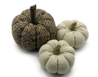 Fabric Pumpkins, Thanksgiving Home  Decor, Fall Decor, Country Home Accent, Fall and Halloween Decor  - set of 3