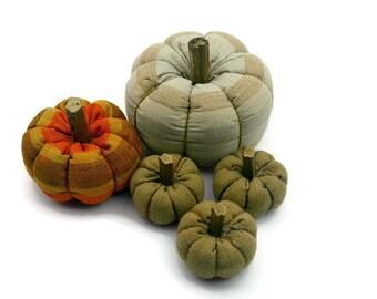 Fabric Pumpkins Stripey Linen Fabric Pumpkin Home Halloween Decor Fall, Country Home Accent Fall and Halloween Decor - set of 5