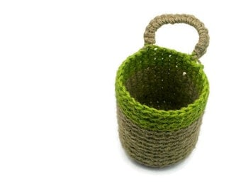 SALE Crochet Doorknob Basket, Jute Twine Basket, Plant Pot Hanging Holder,  Hostess Gift, Desk Organizer, Crocheted Bin, Door Knob Basket