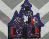 Large spooky house purple and black iron embroidered fabric applique patch embellishment- ready to ship