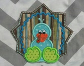Cute blue and brown turkey- baby - iron embroidered fabric applique patch embellishment- ready to ship