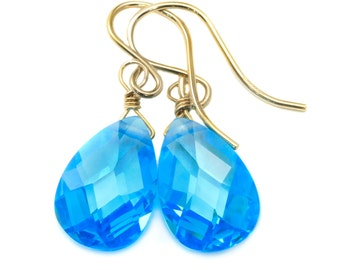 Topaz Swiss Blue Cubic Zirconia Earrings Faceted Pear AAA CZ  14k Gold Filled or Sterling Silver Teardrops Simple Elegant Dainty Design