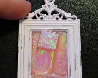 Lab Created Pink Opal Mosaic Picture Frame Pendant