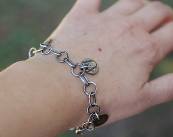 Silver and Brass Charm Bracelet, Silver Toggle Bracelet, Chain Link Bracelet