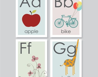 ABC flashcard printable, alphabet, playroom wall art, 3.5x5