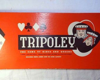 Tripoley Game of Kings and Queens, Cadaco Ellis, 1962, Crown Edition, Vintage Card Game, Red Black