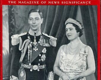 Newsweek July 12 1939 King George Queen Elizabeth British Monarchs World War Two History Birthday Birth Date Gift Vintage Magazine