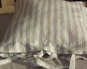 Lovely Stripes Linen Pillow Case with Ties. Swedish Vintage Fabric.