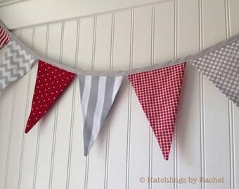 RED GRAY BUNTING -- party pennant fabric flag banner -- birthday bunting -- baseball pennant garland -- fabric bunting -- 9 feet
