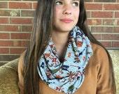 Infinity Scarf: Gray Aztec Sweater Knit