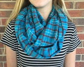INVENTORY SALE || Infinity Scarf: Teal Plaid Flannel