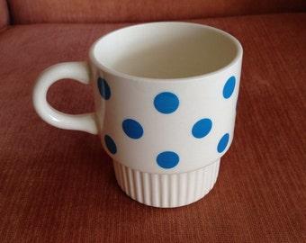 Blue & White Polkadot Mug