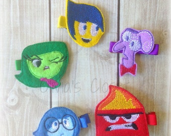 Inside out clips Inside out Hair clips inspired hair clips -Does not include the headband