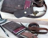 Passport/ iPhone6 plus/ Dark brown distress genuine cow leather/ wallet with Shoulder strap