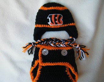 Crocheted Bengals Inspired Team Colors Hat & Diaper Cover (Or Choose Another Team) These Are Made to Order
