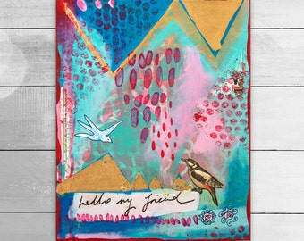 Original acrylic and mixed media painting by Suzielou, birds, friendship, wall canvas, wall art, gift for friend, birthday gift, turquoise