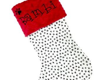 Dog Christmas Stocking, Paw Print Red Christmas Stocking, Personalzied Pet Christmas Stocking, Paw Print Christmas Pet Stocking