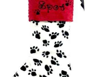 Paw Print Dog Stocking, Dog Christmas Stocking, Paw Print Christmas Stocking, Personalzied Pet Christmas Stocking, Dog Christmas Stocking