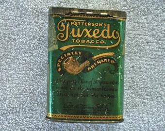Vintage A Patterson'a Tuxedo Tobacco Concave Tin 1910 Era. Collectors tins Tobacco tins